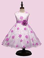 Vestido Chica de-Fiesta/Cóctel-Floral-Rayón-Todas las Temporadas-Rosa / Morado