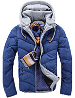 Men's Regular Padded Coat,Polyester Patchwork Long Sleeve