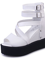 Women's Shoes Leatherette Summer Heels / Peep Toe Sandals Office & Career / Casual Wedge Heel Hollow-out Black / White