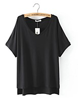 Women's Casual/Daily Sexy Summer T-shirt,Solid V Neck Short Sleeve White / Black / Yellow Cotton / Linen Thin