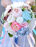 Bouquets de Noiva Redondo Peônias Buquês Casamento Multi-Côr Elastano / Flôr Seca 18.9