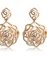 Women's Fashion Hollow Rose Shape Zircon Drop Earrings