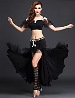 Belly Dance Outfits Women's Performance Spandex / Tulle Ruched / Split Front 2 Pieces Black / Fuchsia / Light Green