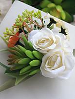 Bouquets de Noiva Atado à Mão Rosas / Peônias Buquê de Pulso Casamento Cetim 4.72