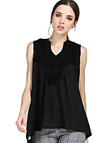 Women's Casual/Daily Plus Size / Street chic Summer Blouse,Patchwork V Neck Sleeveless Black Polyester Medium