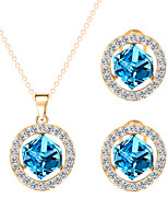 Maiden Blue Crystal Ocean Star Bright Clavicle Chain Jewelry Sets