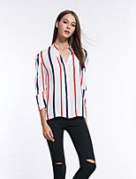 Women's Patchwork White Blouse,Stand ¾ Sleeve Tops