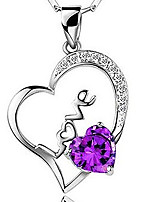 Hollow Love Heart-shaped Amethyst Pendant Necklaces Valentine Day Gift S925 Silver Clavicle Chain