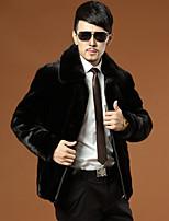 Men's Solid Casual / Plus Sizes Coat,Faux Fur Long Sleeve-Black