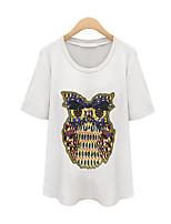 Women's Casual/Daily Cute Summer T-shirt,Animal Print Round Neck Short Sleeve White / Gray / Green Cotton Medium