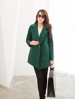 Women's Casual/Daily Simple Coat,Solid Shirt Collar Long Sleeve Winter Blue / Red / Beige / Green Wool Medium