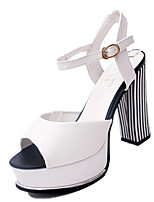 Women's Sandals Summer Open Toe PU Casual Chunky Heel Others Black / White