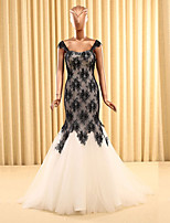 Formal Evening Dress Trumpet / Mermaid Straps Sweep / Brush Train Lace / Tulle with Lace