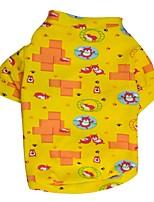 Gatos / Cães Camiseta Azul / Amarelo Primavera/Outono Floral / Botânico Da Moda, Dog Clothes / Dog Clothing-Pething®