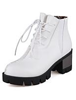 Mujer-Tacón Robusto-Tacones / Botas a la Moda-Botas-Exterior / Oficina y Trabajo / Casual-Semicuero-Negro / Amarillo / Blanco