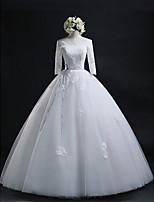 볼 드레스 웨딩 드레스 바닥 길이 보트넥 레이스 / 튤 와 아플리케 / 허리끈 / 리본