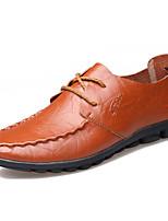 Men's Shoes Cowhide Outdoor Flats Outdoor Walking Flat Heel Lace-up Black / Brown / Yellow