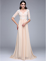 TS Couture® Formal Evening Dress A-line Queen Anne Sweep / Brush Train Chiffon with Appliques / Beading / Ruching