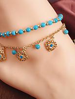 Women's Anklet/Bracelet Bohemian Style Blue Beaded Flower Pendant Tassel Combination Anklet Casual 1 pc