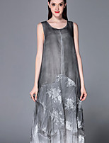 Boutique S Casual/Daily Sophisticated Swing Dress,Print Round Neck Midi Sleeveless Gray Polyester Summer