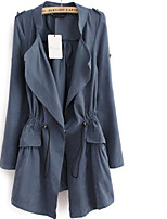 Women's Party/Cocktail Street chic Trench Coat,Solid V Neck Long Sleeve Fall Blue / Beige / Brown Cotton Medium