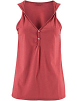 Women's Casual/Daily Street chic All Match Fashion Summer Tanks,Solid V Neck Sleeveless