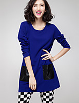 Women's Going out Street chic Fall Blouse,Patchwork Round Neck Long Sleeve Blue / Red / Black Polyester Medium