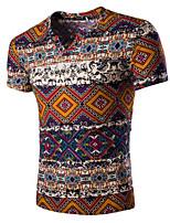 Men's Casual Slim V-Neck Linen Floral Short Sleeved T-Shirt,Cotton / Linen Short Sleeve-Blue / Orange