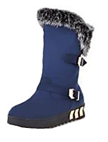 Women's Boots Winter Fashion Boots Fleece Casual Flat Heel Buckle Black / Blue Others