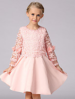 Girl's Casual/Daily Solid Dress,Cotton / Polyester Winter / Fall Pink