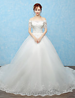 Ball Gown Wedding Dress Cathedral Train Off-the-shoulder Tulle with Beading