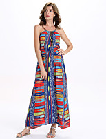 Women's Casual/Daily Sexy A Line / Swing Dress,Rainbow Strap Maxi Sleeveless Multi-color Rayon / Polyester All Seasons