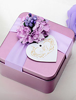 10 Piece/Set Favor Holder-Cubic Metal Wedding Purple Favor Boxes Candy Boxes
