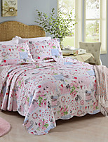 100% Cotton  Floral 3 pieces Quilted Bedspread set , Queen Size