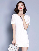Women's Going out Simple / Street chic Shift Dress,Solid Round Neck Above Knee Short Sleeve