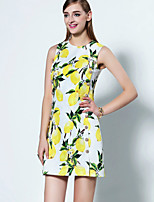 Boutique S  Women's Going out Sophisticated Swing Dress,Print Round Neck Above Knee Sleeveless Yellow Polyester Summer