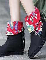 Women's Shoes Cotton Spring / Summer / Fall Round Toe Boots Outdoor / Casual Flat Heel Tassel / Flower Black