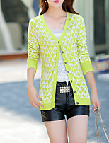 Women's Going out / Casual/Daily Cute Regular Cardigan,Print Black / Green V Neck Long Sleeve Cotton Fall Medium