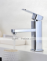 Contemporary Centerset Rain Shower with  Ceramic Valve Single Handle One Hole for  Chrome , Bathroom Sink Faucet