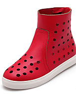 Women's Shoes Summer Fashion Boots / Creepers / Comfort / Round Toe Boots Dress / Casual Platform Zipper Black / Red