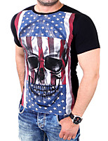Men's Print Casual / Sport T-Shirt,Cotton Short Sleeve-Black / White