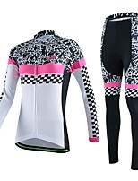Women's Cycling Skeleton Long Sleeve Shirt Bicycle Breathable Quick Dry Jersey + Bike 3D Cushion Pad Pants Suit