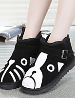 Girls' Shoes Casual Leather Boots Winter Snow Boots Flat Heel Animal Print Black and White
