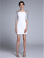 Sheath / Column Mother of the Bride Dress Short / Mini Half Sleeve Chiffon with Sequins