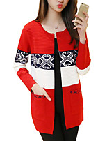 Women's Jacquard Pink / Red / Black / Gray Cardigan,Vintage / Simple Long Sleeve 916284