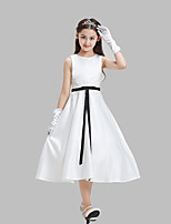 A-line Tea-length Flower Girl Dress-Cotton / Lace / Satin Sleeveless
