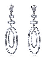 New Women Drop Earrings Fashion Platinum plated & White Cubic Zircon Wedding Jewelry Earring