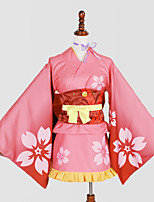 Inspired by Kabaneri Of The Iron Fortress Nameless Actress Anime Cosplay Costumes Cosplay Suits / Kimono Print PinkYukata / Headpiece /