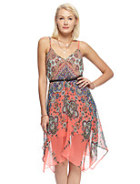 Women's Going out Simple Loose / Chiffon Dress,Print Strap Asymmetrical Sleeveless Orange Polyester Summer