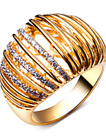 New Rings for Women 18K Gold Plated Cubic Zirconia Pave Setting Lead Free Rings Jewellery Clear Stone